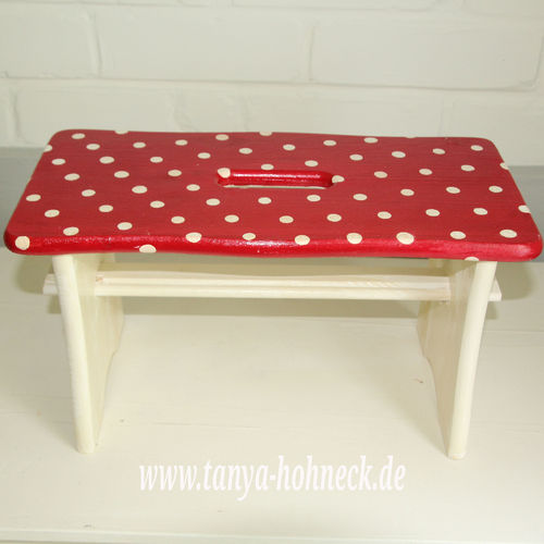 Hocker rot 'White dots' Schemel