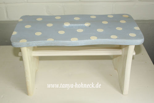 "Hocker hellblau ""White dots"" Schemel"