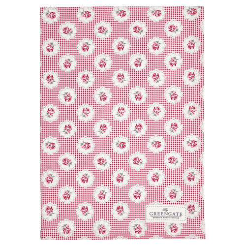 Tammie red tea towel Geschirrtuch by GREENGATE rot 100% Baumwolle