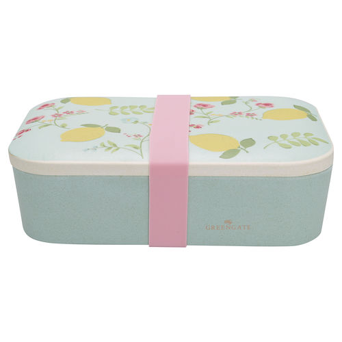 'Limona pale blue' Lunch box Dose by GREENGATE hellblau Zitrone Bambus