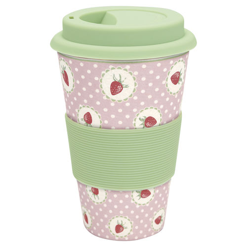 'Strawberry pink' Becher Coffee to go by GREENGATE Erdbeer Bambus