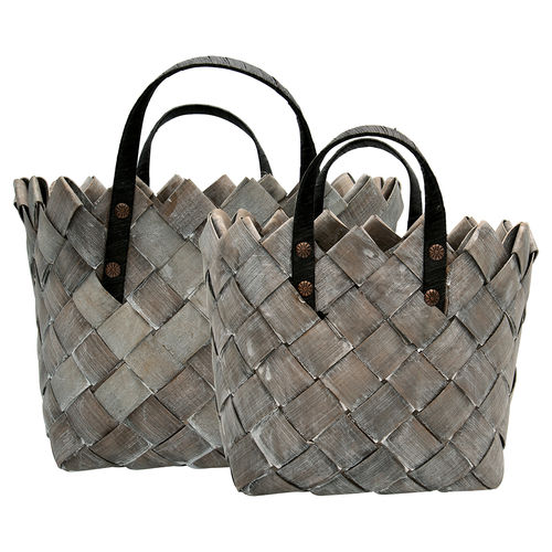 Korb Tasche 2er Set 'Basket dusty grey set' by GREENGATE Grau